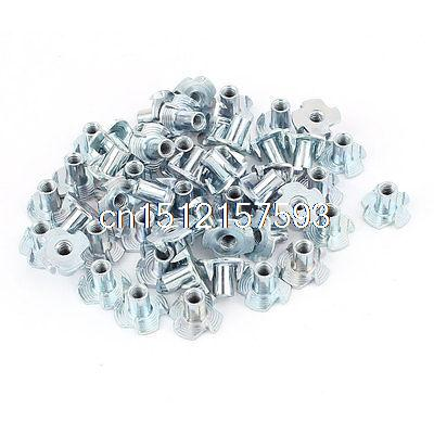 50Pcs 4 Prongs Zinc Plated T-Nut Tee Nut Fixing M4 x 10mm 50 pieces metric m4 zinc plated steel countersunk washers 4 x 2 x13 8mm