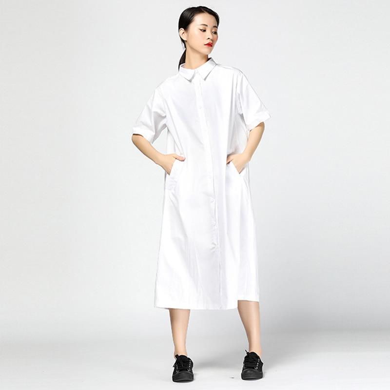 Manches Chemise À Black De D'été Robe Femmes Robes Revers Mode Caractères white Imprimer Courtes Chicever Vêtements Occasionnel Col Lâche 4q0wOHgXx