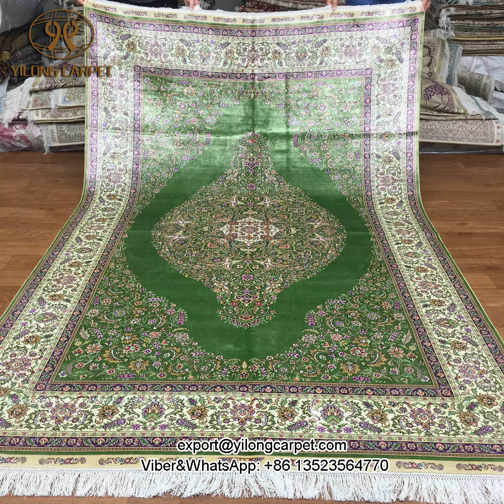 yilong turkish kashmir hand knotted persian area rugs turquoise silk oriental carpets - Area Carpets