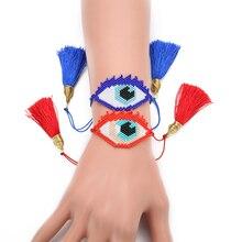 Shinus 5pcs/lot Miyuki Bracelets Turkish Evil Eyes Bracelet Red Blue Black Tassel Women Devil Eye Handmade Jewelry