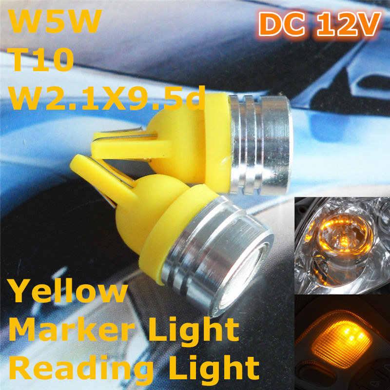 12 V Sarı Renk LED araba ampulü Lamba T10 (Yüksek Güç projektör) w5W W2.1X9.5d için Gövde Boot Lisans Okuma Işığı