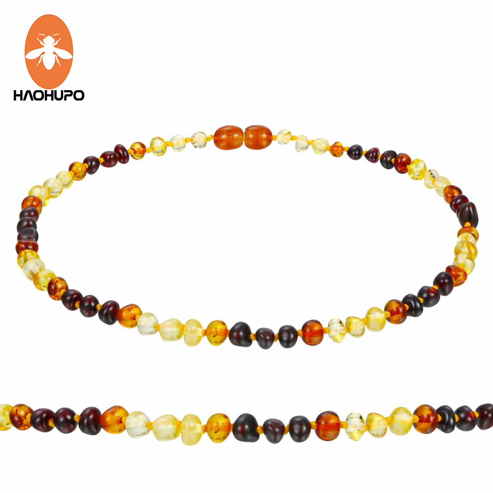 HAOHUPO Amber Teething Necklace for Babies (Unisex) -Anti inflammatory , Certificated Natural Baltic Jewelry, Highest Quality image