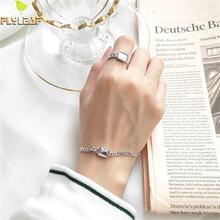 цены Flyleaf 100% 925 Sterling Silver Bracelet Fashion Jewelry Charm Bracelets For Women Geometric Square Crystal Bracelets & Bangles