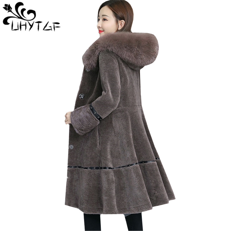 UHYTGF New Wool mink fur Coat Women Winter jacket luxury Fox fur collar Hooded Warm Outerwear Sheep shearing long Coat M 4XL1028