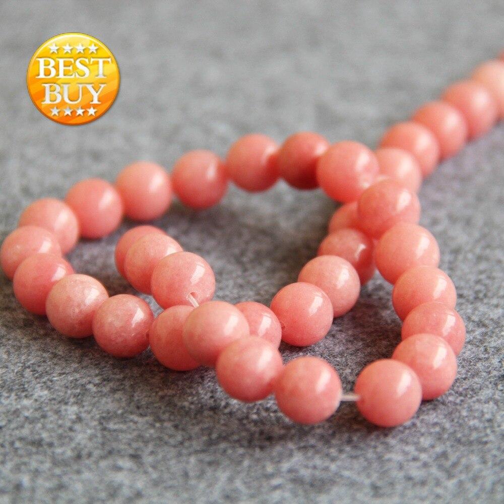 f430a1aeb4e 2017 Novo Para Colar   Pulseira 10mm Rosa Calcedônia Beads Contas de Pedra  Solta Rodada DIY Acessórios Peças 15 polegadas Fazer jóias