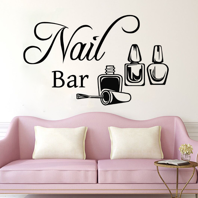 YOYOYU Nail Bar Remove Vinyl Wall Sticker Beatuy Salon Manicure Bedroom Decal Home Decor ...