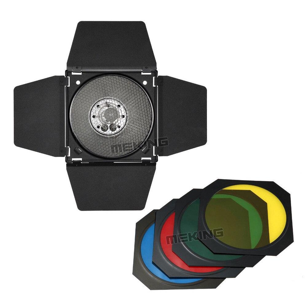 Meking Studio Flash Barndoor For Strobe Honeycomb grid Light Control snoot 15cm MK with Gel Filter