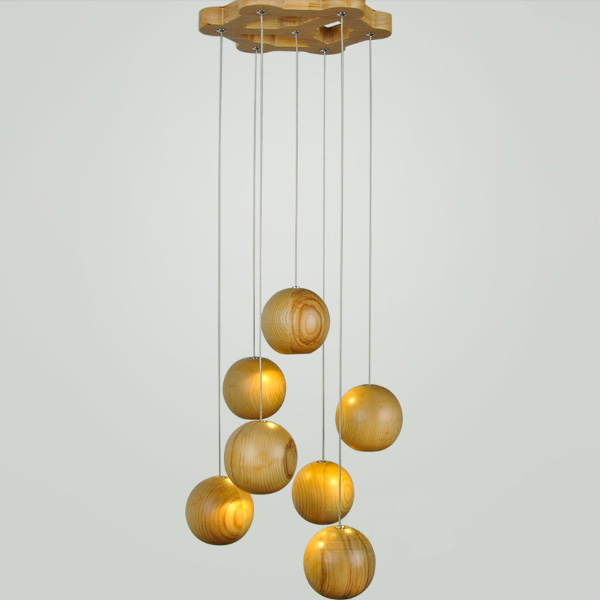 Nature Solid Wood Ball Modern Ceiling Pendant Lamp G4 Light Cord Hanging Light Fixture For
