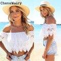 ChenaWolry 1 UNID Ventas Calientes Mujeres Atractivas de La Manera de Lujo Atractivo de Boho Encaje Blanco Hombro Crop Shirt Tops 1 de Noviembre