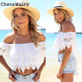 ChenaWolry 1PC Hot Sales Attractive Luxury Sexy Fashion Women Boho Lace White Off Shoulder Crop Shirt Tops Nov 1