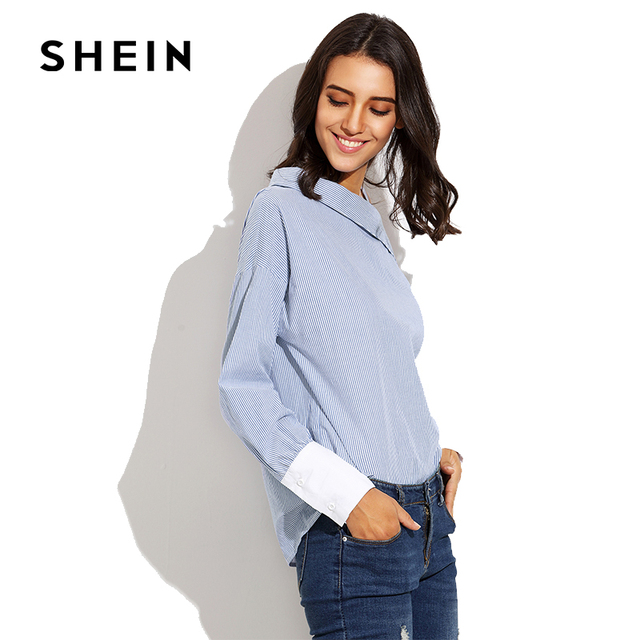 3496e71ccb SHEIN Blue Striped Fold Over One Shoulder Contrast Cuff Blouse, Autumn  Women Fashion Tunic,Long Sleeve Cotton Casual Clothes