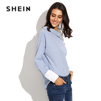 SHEIN Striped Fold Over Asymmetric Shoulder Contrast Cuff Blouse Autumn Blue Long Sleeve Blouse Women S