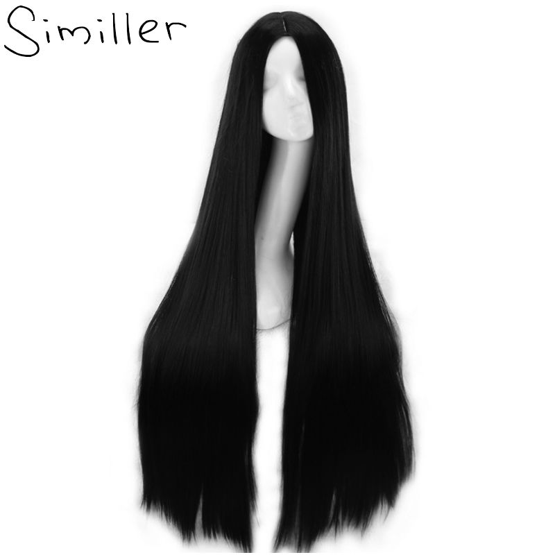 Similler 100cm Black Synthetic Cosplay Wig for Women Halloween Party Middle Parting