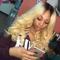 Bestsojoy Body Wave Lace Front Human Hair Wigs Pre Plucked With Baby Hair 1B/27 Brazilian Body Lace Frontal Wig Human Hair Wigs