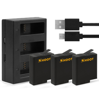 SHOOT AHDBT 501 Three Ports USB Charger with 1220mAh Battery for GoPro Hero 5 Black Camera For Go Pro Charging Accessories Set