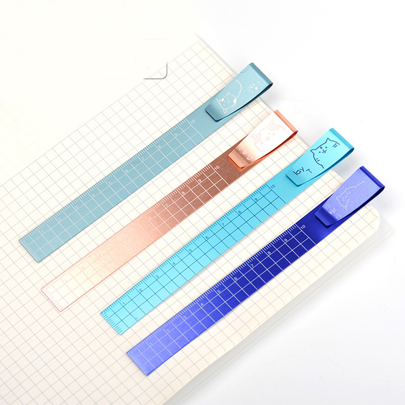 Novelty Cartoon Cat Aluminum Ruler Metal Cat Straight Ruler For School Kids 4pcs/lot