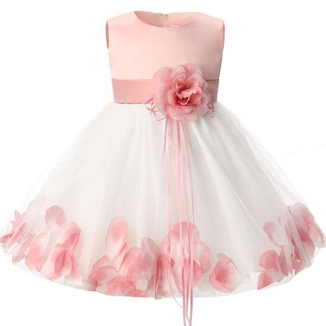 Bé sơ sinh Cô Gái 1 Năm Sinh Nhật Váy Cánh Hoa Vải Tuyn Bé Gái Làm Lễ Rửa Tội Ăn Mặc Trẻ Sơ Sinh Công Chúa Dresses Đối Với Cô Gái 2 T
