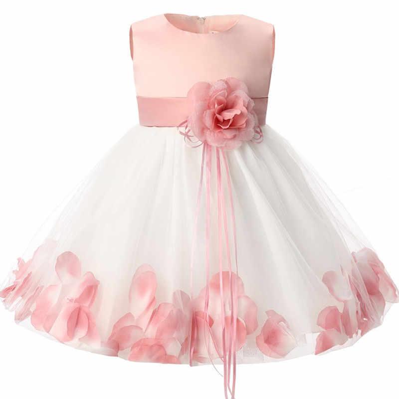 ffda8d451 Newborn Baby Girl 1 Year Birthday Dress Petals Tulle Toddler Girl Christening  Dress Infant Princess Party