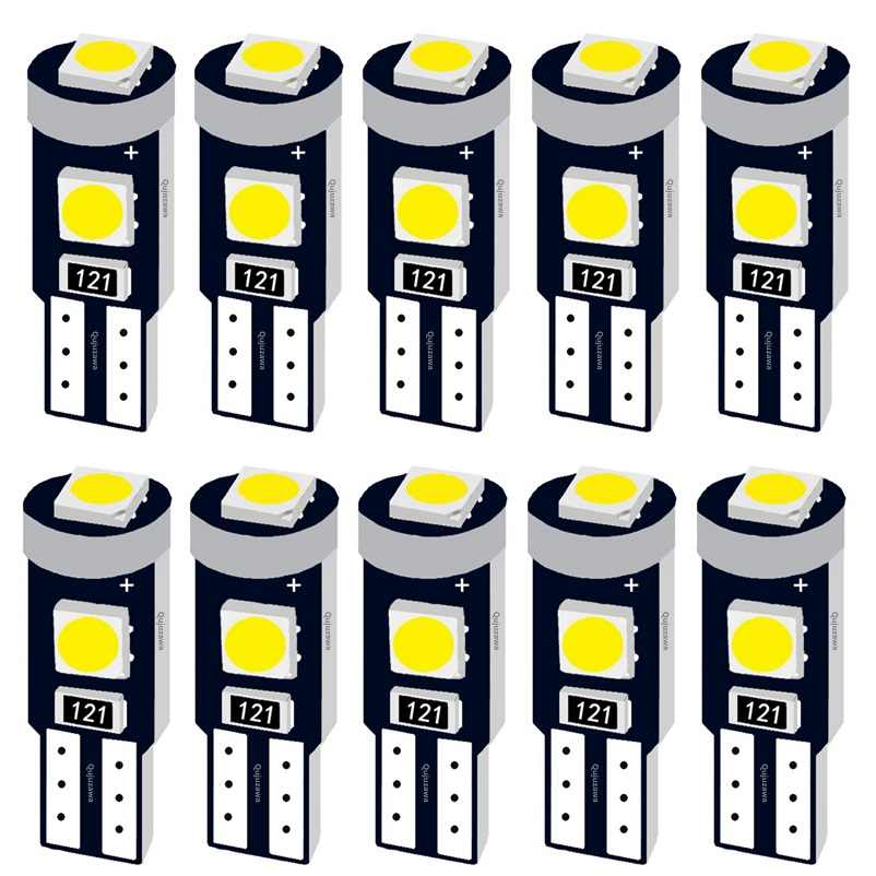 10PCS T5 58 74 286 W1.2W Super Bright 3030 LED Wedge Dashboard Gauge Lamps Car Warning Indicator Instrument Cluster Lights Bulb