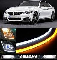 2x 60cm DRL Flexible LED Tube Tear Strip Style Daytime Running Lights Car Headlight Turn Signal