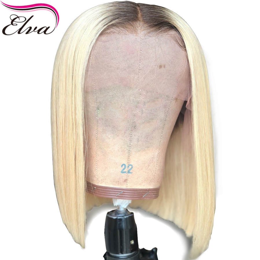 Short Human Hair Wigs Two Tone Color Brazilian Glueless Lace Front Wig For Black Women #4/613 Straight Remy Hair Bob Wig Elva