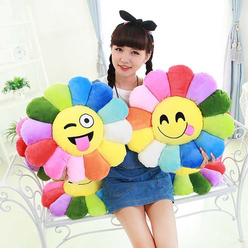 2016 New Colorful flowers sunflowers QQ expression plush toy pillow toys 30CM 40CM image