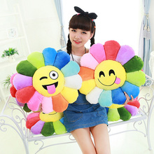 2016 New Colorful flowers sunflowers QQ expression plush toy pillow toys 30CM 40CM