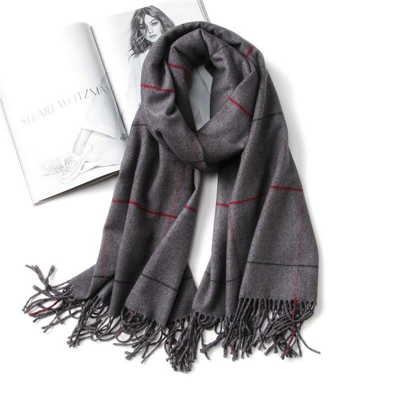 2017 marca de luxo mulheres do vintage cachecol xadrez lenços de cashmere quente senhora inverno xales e wraps pashmina foulard bandana grosso