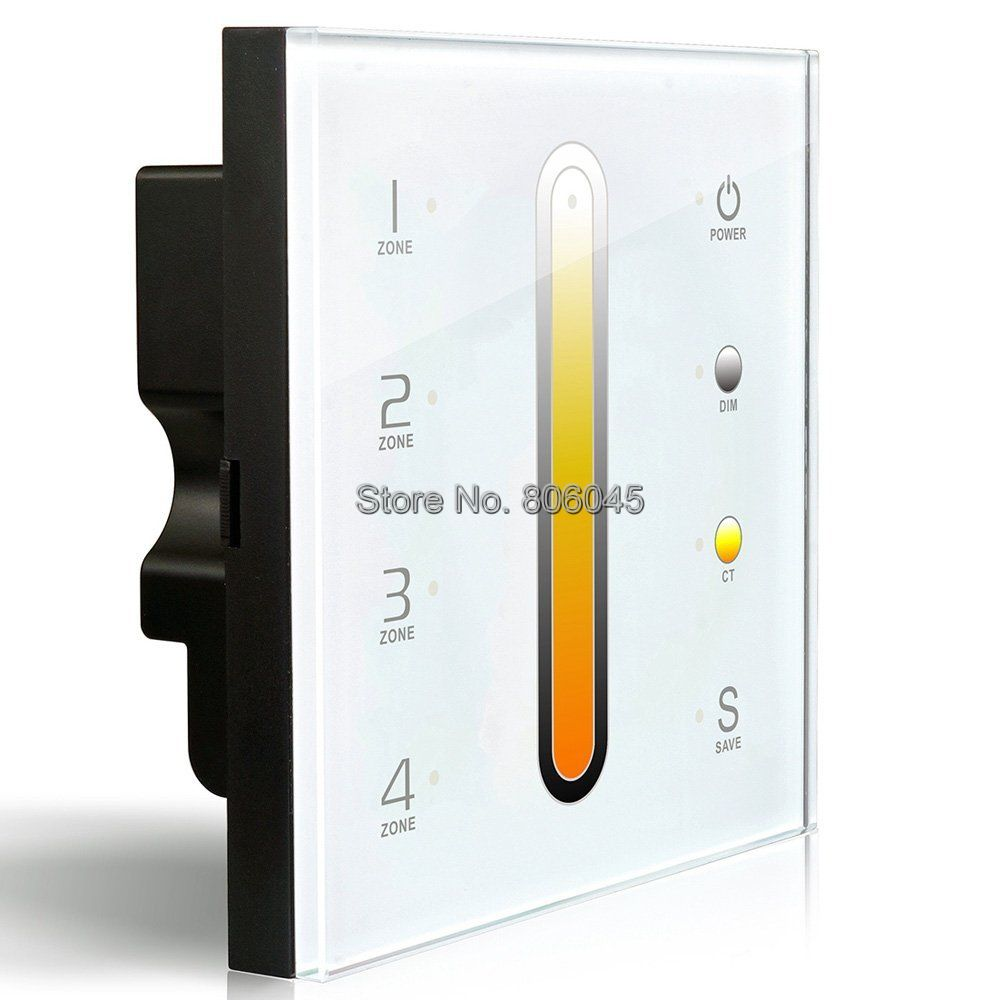 AC110-240V DX6 Touch Panel Wall Mount LED Color Temperature Adjustable CT Controller 2.4G Wireless 4 Zones Control DMX512 Output
