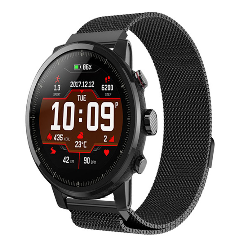 Band For Huami Amazfit 2th Stratos pace watch Strap Magnetic Stainless Steel smartwatch heart rate monitor wristband 22mm Band in Smart Accessories from Consumer Electronics