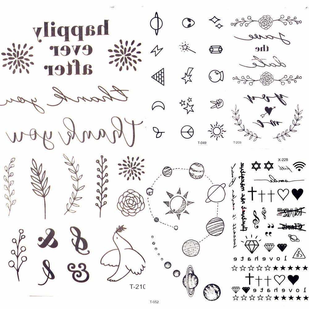 adc958451 25 Desgin Cool Letter Temporary Leaves Tattoo Branch Flower Waterproof  Tattoo Women Body Arm Art Finger