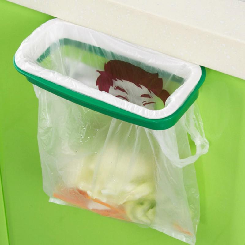 Kitchen Cupboard Door Back Style Hook Type Mini Bracket Trash Garbage Bag Garbage Bag Storage Rack Shelf