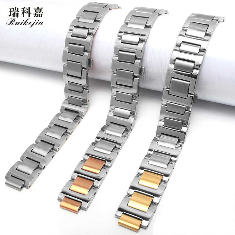 Original style stainless steel watch band for Cartier blue balloon series strap men and women butterfly buckle bracelet 18 20MM