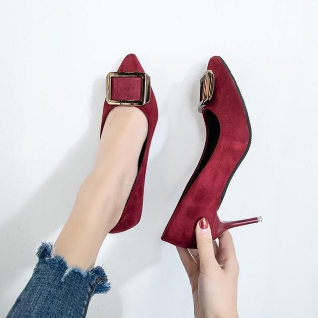 Green Wine Red Black Suede Women High Heels Shoes Pointed Toe Slip On Ladies Pumps Chic Metallic Buckle Female Stilettos Zapatos