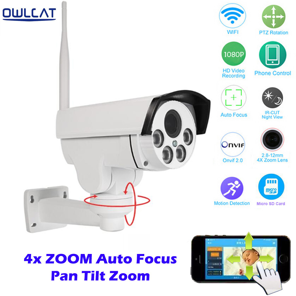 OwlCat Full HD 1080 P Sans Fil PTZ IP Caméra Wifi 2.8-12mm Auto Focus Home Secuirty Caméra Détection de Mouvement 4 4xzoom Micro SD Slot