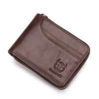 New Design Men Vintage Wallets Genuine leather Small Money Purses Top Men Wallet With Coin Bag Zipper Wallet