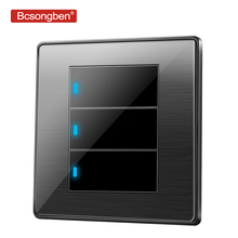 Bcsongben standard switch push button light wall Black stainless steel acrylic 3 Gang 1 Way Switch AC 110-250V kd1-3k1