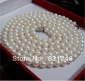 Free shipping perfect natural white 6-7mm pearl round beads long chain women necklace hot sale diy jewelry 36inch GE4511