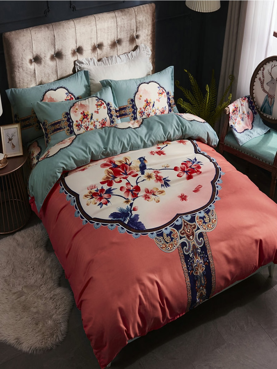 4 Pcs Duvet Cover Set European Vintage Style Color Block Floral Pattern Bed Set 4 Pcs Duvet Cover Set European Vintage Style Color Block Floral Pattern Bed Set