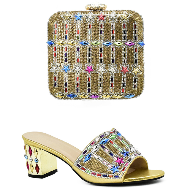 New Gold Color Matching Italian Shoe and Bag Set Decorated with Rhinestone Italian Shoes and Bags To Match Shoes with Bag Sets