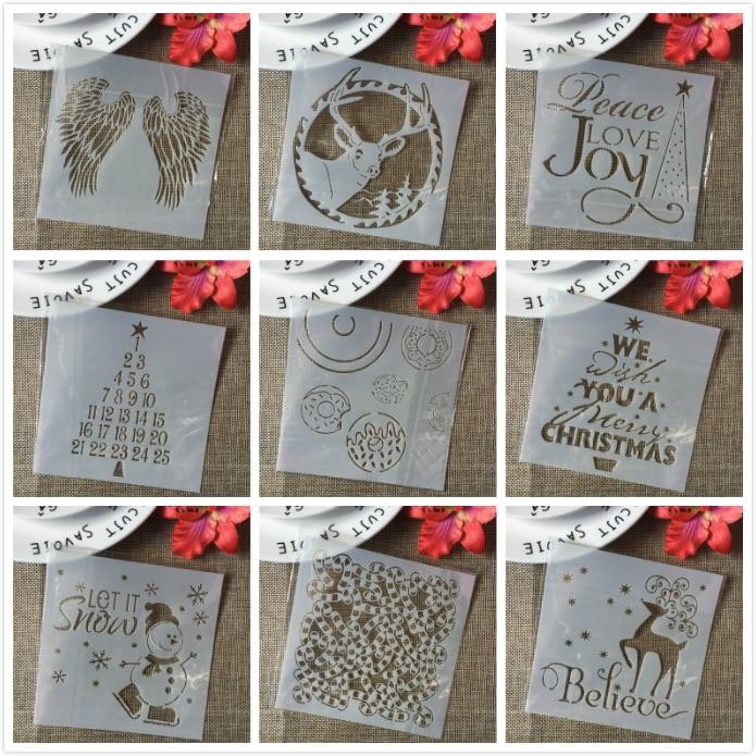 9Pcs/Lot 13cm Christmas Snowman Deer DIY Layering Stencils Painting Scrapbook Coloring Embossing Album Decorative Card Template