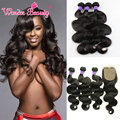 4 Bundles Malaysian Body Wave With Silk Base Closure 8AMalaysian Virgin Hair With Closure Middle Free Part With Body Wave Bundle