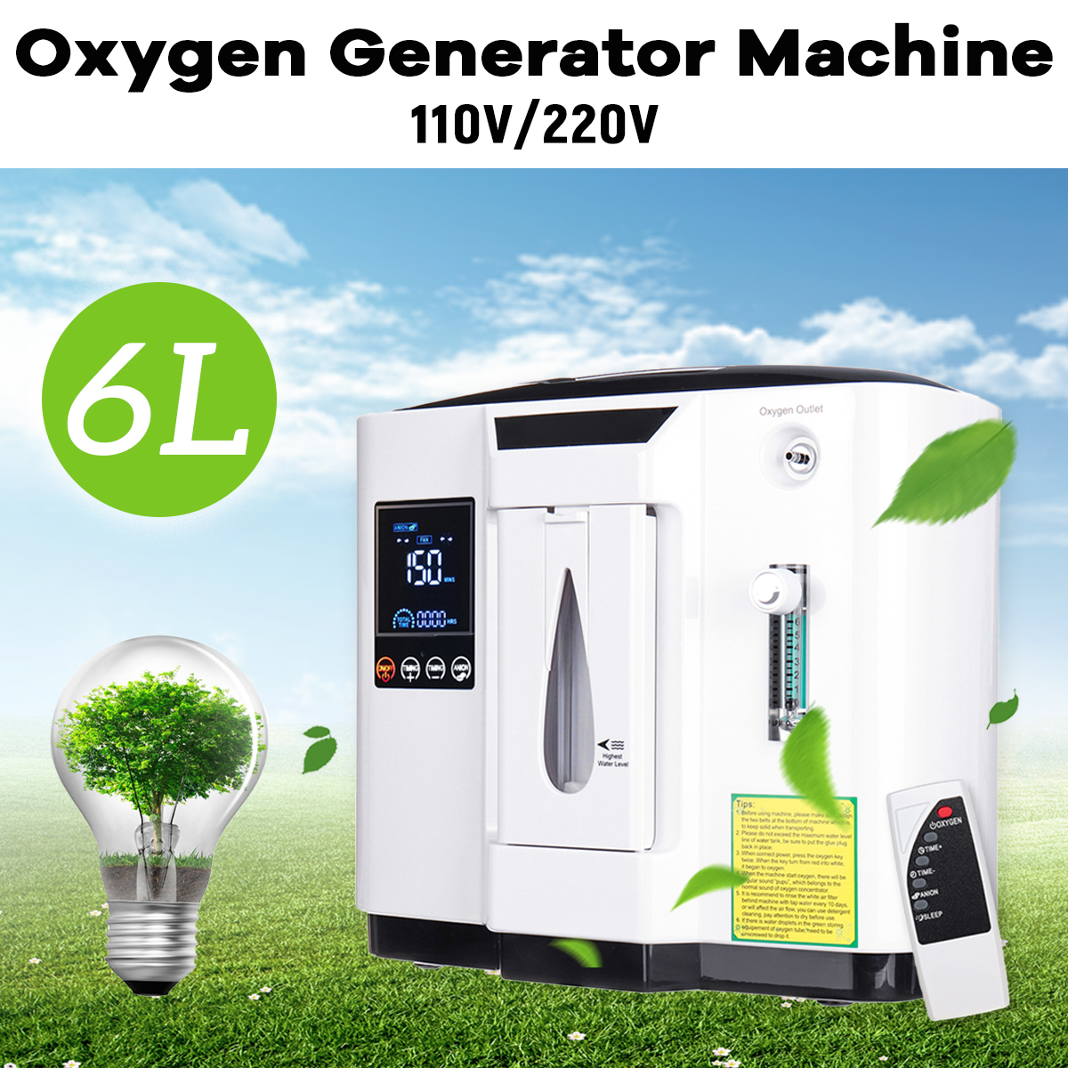6L Adjustable Portable Oxygen Generator Concentrator Home Medical Machine Quiet