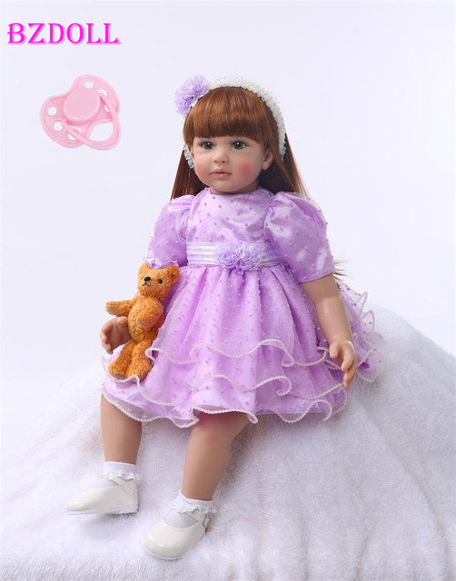 Silicone Reborn Baby Doll Toys 60cm Princess Toddler Dolls Birthday Present Gift Girls Brinquedos Dolls Limited