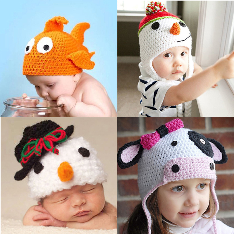 Baby Hats Animals & Character Style Baby Toddler Kids Boy Girl Knitted Crochet Caps For Halloween Christmas Wholesale Price