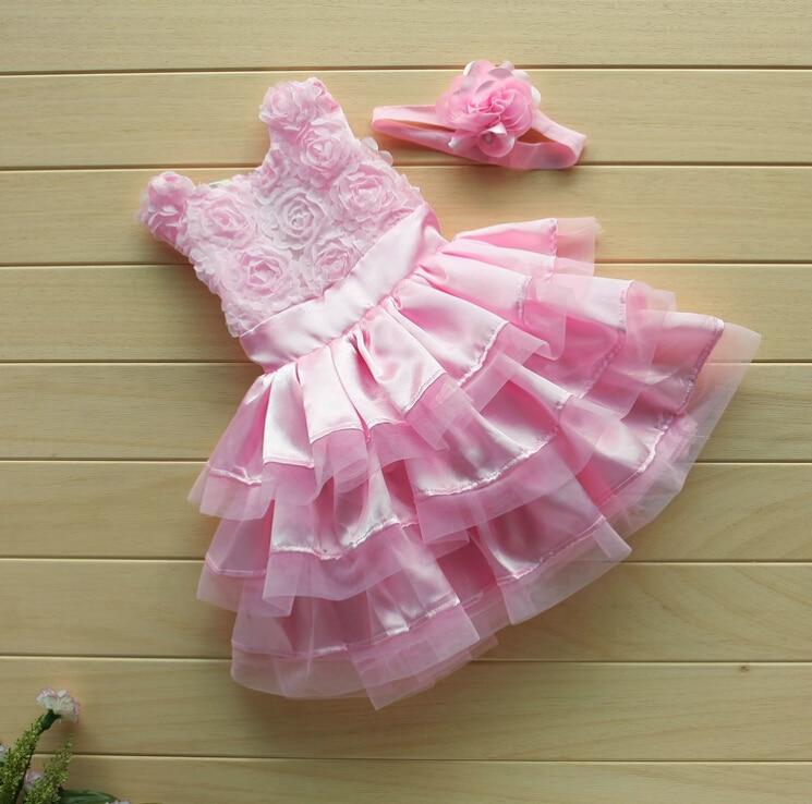 Baby Infant Girls Clothing Pink Rose Silk Dress Tutu Ball