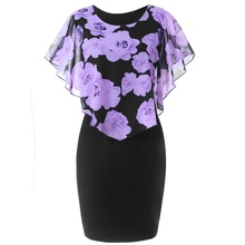 ZOGAA Hot Sale Women Casual Rose Print O-Neck Party Dress Ladies Robe Female Butterfly Sleeve Summer Plus Size