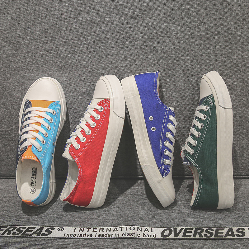 Primavera outono vulcanizado sapatos masculinos plana lona de retalhos de renda rasa branco e azul sapatos casuais para homem binhiro novo