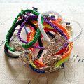45Pcs ( Mix 9 Colors ) Crystal Rose Charm Handmade Weaving Bracelets DIY Fashion Jewelry