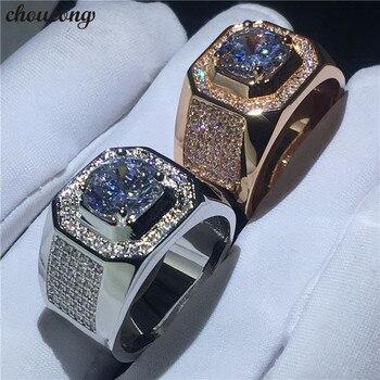 c2b1f6c05a6d Choucong solitaire anillo masculino 3ct claro 5A circón cz Rosa Blanco oro  relleno compromiso anillos de boda para hombres joyería de dedo